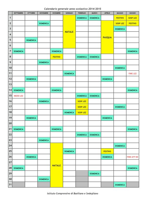 Calendario generale anno scolastico 2014/2015
