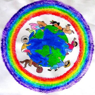 Ho rappresentato un mondo con intorno i bambini di ogni continente