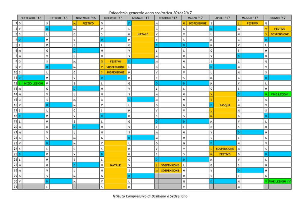 Calendario Anno 2017.I C Basiliano E Sedegliano Istituto Calendario Anno